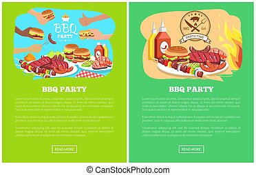 BBQ Party Two Colorful Posters Vector Illustration