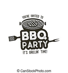 BBQ party typography poster template in retro old style. Offset and letterpress design. Letter press label, emblem. Isolated on white background. Stock vector.