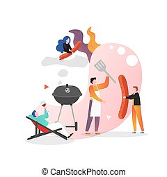 Bbq party vector concept for web banner, website page