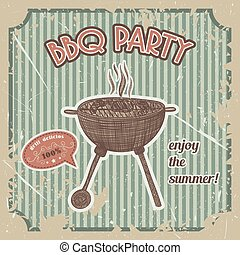Bbq party vintage poster