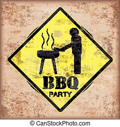 BBQ party Vintage Road Sign