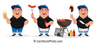 BBQ party. Young cheerful man cooks grilled food