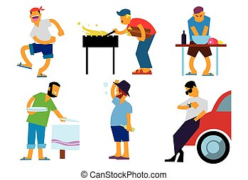BBQ people isolated on white background