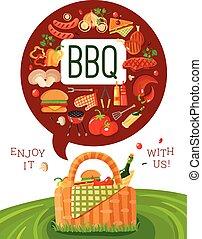 BBQ Picnic Flat Invitation Poster