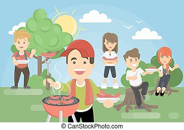 BBQ picnic in park.