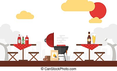 BBQ picnic vector illustration. Grilling outdoor, summer weekend, cooking on fire. Simple background flat style. Setup for barbecue party, outdoor seating wooden tables. Cookout barbeque in courtyard