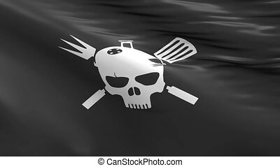 BBQ Pirates - BBQ Pirate, waving flag with a skull icon and...