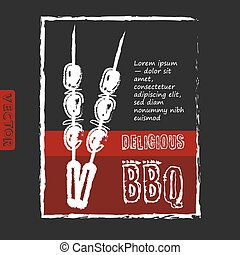 BBQ poster stylized like sketch drawing on the chalkboard. Vector illustration.