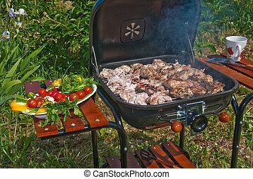 BBQ preparations - Close up of a summer BBQ