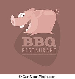 BBQ Restaurants emblem pig - Illustration, BBQ Restaurants...