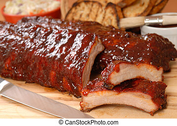 BBQ Ribs with toasted bread and cole slaw - Delicious BBQ...