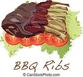 BBQ ribs with tomato and salat