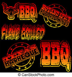 BBQ Rubber Stamp - Flame grilled and BBQ rubber stamp...