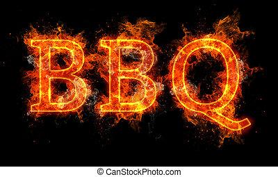 bbq, słowo, napisy tekst, w, płomienie