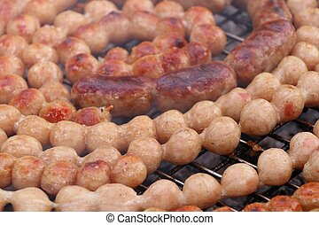 BBQ sausages in the market