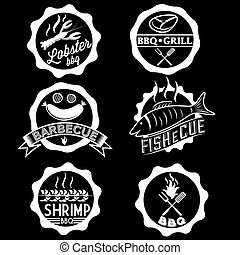 BBQ, seafood, steak labels, icons, badges template set