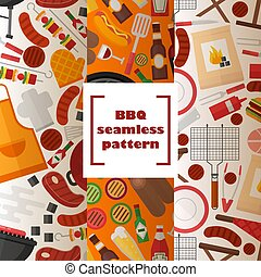 BBQ seamless pattern, vector illustration. Grilled food and accessories, flat style background. Barbecue party, outdoor cooking set, picnic utensils. Apron, kebab skewer, barbeque meat and beer