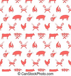 BBQ seamless pattern, vector illustration with barbecue grill elements