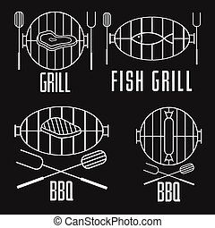bbq set and vector design elements