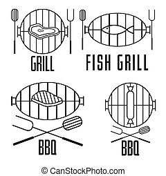 bbq set and vector design elements