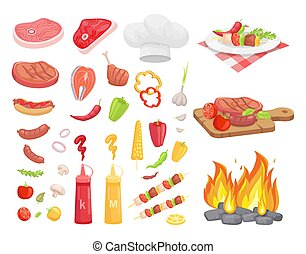 BBQ Set, Meat for Barbecue and Spice, Vector Icon
