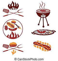 bbq set of meat, hot dog and burger