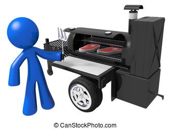 BBQ Smoker Mobile Grill and Man Preparing Food - Man...