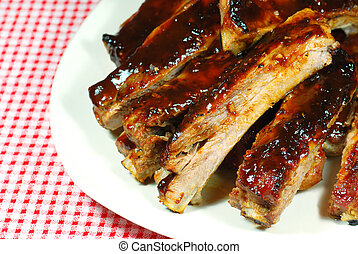 Bbq Spare Ribs on a plate with red and white checkered tablecloth