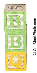 BBQ Spelled in Alphabet Blocks