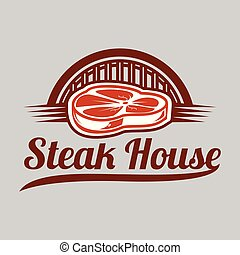 BBQ Steak House Vector Image Logo