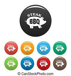 Bbq steak icons set color - Bbq steak icons set 9 color...