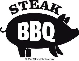 Bbq steak logo, simple style