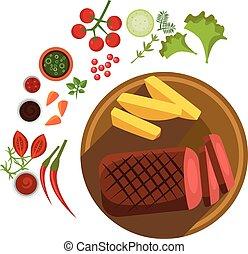 BBQ Steak on Plate. Vector Illustration
