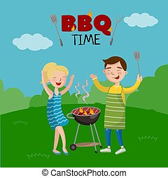 BBQ time banner, cartoon style poster with people on the lawn cooking barbecue, vector Illustration