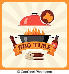 Bbq time card with grill objects and icons