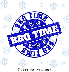BBQ Time Scratched Round Stamp Seal for Christmas