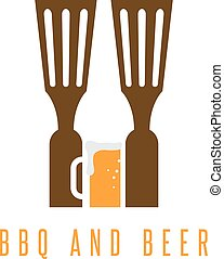bbq tools and beer vector design template