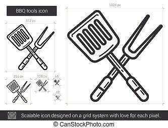 BBQ tools line icon.