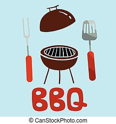 BBQ Turner Fork Grill Background Vector Image