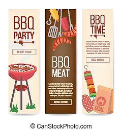BBQ Vertical Promotion Banners Vector. Barbecue, Charcoal, Hamburgers. Isolated Illustration