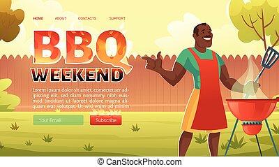 BBQ weekend cartoon landing page, summer picnic