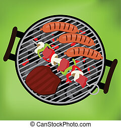 BBQ with steak, sausages and shish kebab on green background, vector illustration