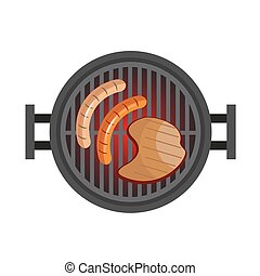 BBQ with steak, sausages. Preparation of meat in nature. Grill with hot coals. Vector illustration isolated on white background.