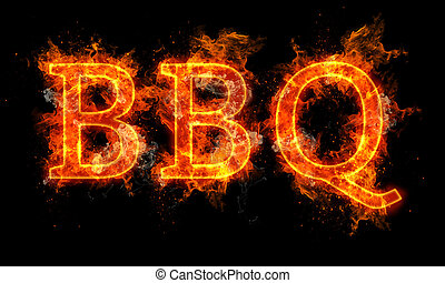 BBQ word written text in flames on black background