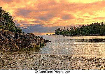 bc, kanada, wyspa, krajowy, pokojowy brzeg morza, park, wieniec, zachód słońca, vancouver, wzdłuż