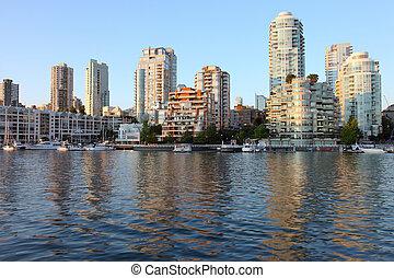 bc, &, orizzonte, sailboats., zona portuale, vancouver, sud