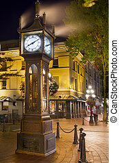 bc, orologio, vancouver, notte, gastown, vapore