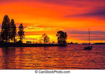 bc, vancouver, arancia, spiaggia tramonto, splendore