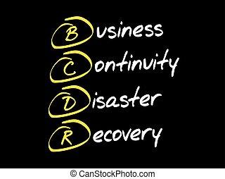 bcdr, acroniem, concept, zakelijk
