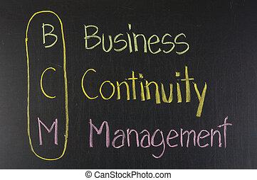BCM acronym Business Continuity Management,color chalk...